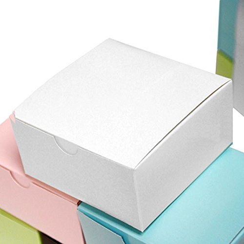 Efavormart 100pcs of 4x4x2 White Cake Box for Candy Treat Gift Wrap Box Party Favor Boxes for Bridal Shower Wedding Party -