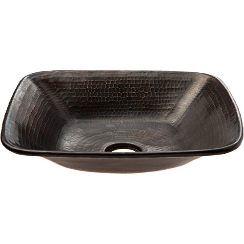 Premier Copper Products Square Vessel Hammered Copper Sink