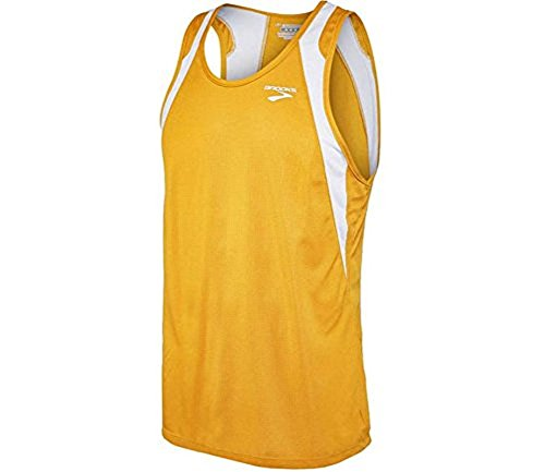 (Brooks Athletic Sprinters Sleeveless Top - Gold/White -)
