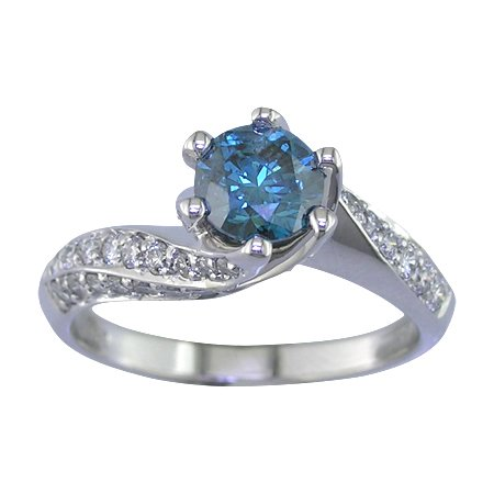 1.50 CT Blue Diamond Engagement Ring 14K White Gold In Size 7 (Available In Sizes 5 – 10)
