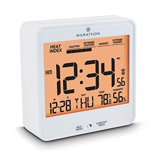 (Marathon CL030054WH Atomic Alarm Clock with Humidex, Date and Indoor Temperature. Backlight, Snooze and Loud Alarm. Batteries Included. Color-White.)