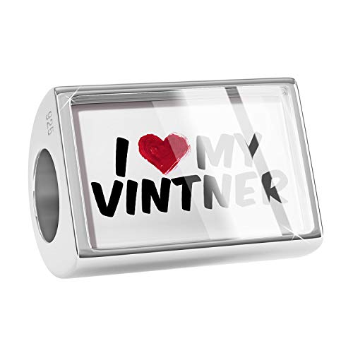 NEONBLOND Charm I Heart Love My Vintner 925 Sterling Silver Bead