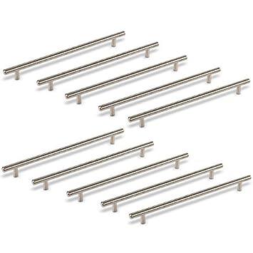 10 x SO-TECH® Maniglie G14 per Ante Cucina e Armadi Acciaio Inox Satinato  Viti incluse Set di 10 x 320 mm Distanza dei Fori