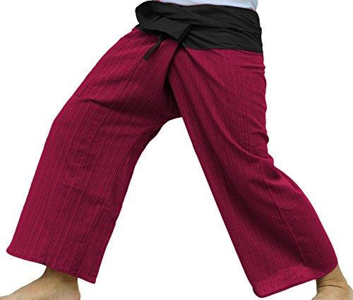 Raan Pah Muang RaanPahMuang Light Striped Cotton Two Tone Thailand Fisherman Tall Length Pants, Medium, Black Waist, Red Legs