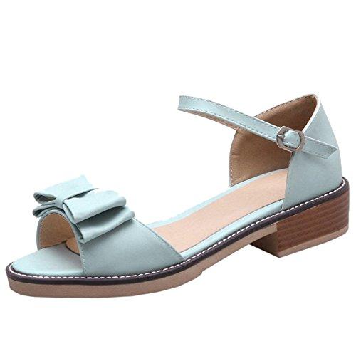 TAOFFEN Mujer Casual Correa de Tobillo Hebilla Tacon Verano Sandalias Mujer Bowknot Zapatos Azul