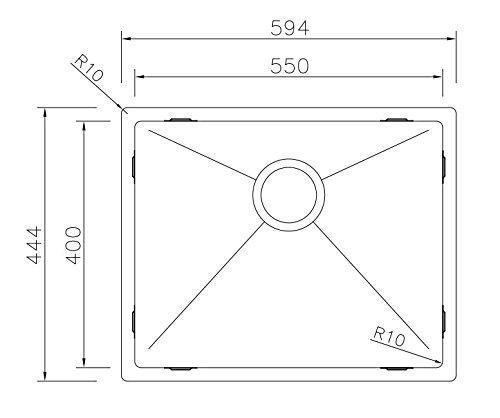 inox bross/é - /évier carr/é /Évier de cuisine Copa Design Linea 50-40 Affleurant // Sous plan Cuve de cuisine// /évier 1 bac acier inoxydable 594 x 444 mm R 10 mm