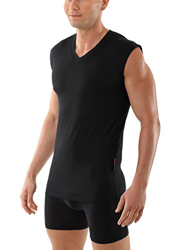 ALBERT KREUZ Mens Sleeveless v-Neck Business Undershirt Stretch Cotton Black