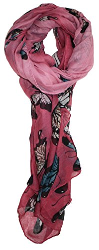 Jack Butterfly Garden (Ted and Jack - Exotic Ombre Butterflies Print Scarf in Rose)
