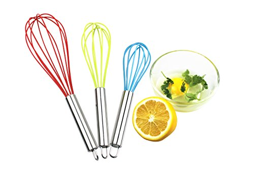 H&B LIFE Silicone Egg Whisk,Good Grips Egg&Milk Beater/Blender,8+10+ 12 Inches, Set of 3 (mixed color) 8' Whisk