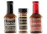 Charlie Vergos Rendezvous (Memphis) BBQ Sampler Bundle -- Hot BBQ Sauce, Original BBQ Sauce & Seasoning Rub