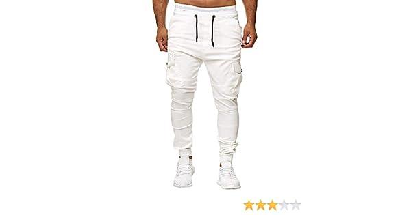 Hombre Pantalones Chándal Sueltos Personalidad De Color Sólido ...