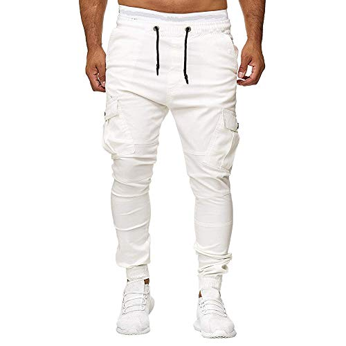 ANJUNIE Men Sweatpants Slacks Casual Elastic Joggings Sport Solid Baggy Pockets Trousers(1-White,XXL)