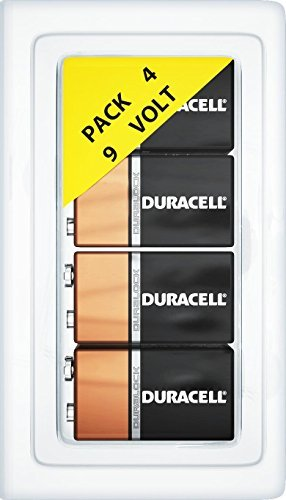 4 Pack of Duracell 9 Volt Alkaline MN1604 Duralock Batteries + FREE Plastic Storage Battery Clamshell Blister Case [Expires 2019]