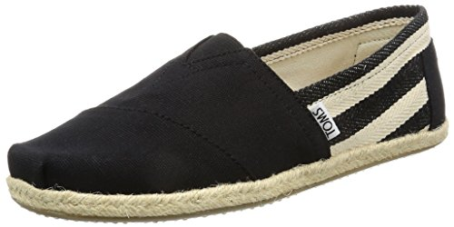 - TOMS Women's 10005415 Black Stripe University Alpargata Flat, 6.5 M US