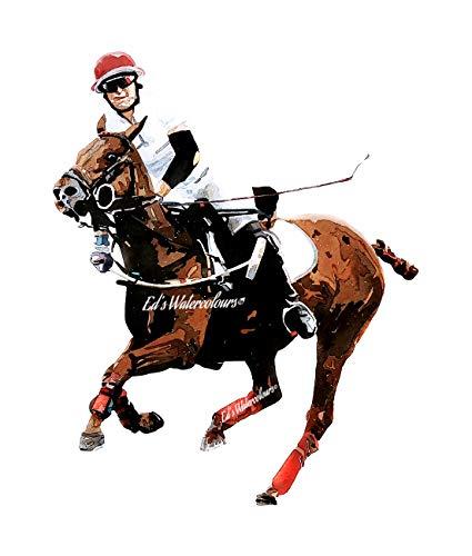 Female Polo Player – Print Watercolour, polo art, polo player print, polo player décor, polo player Watercolour Print