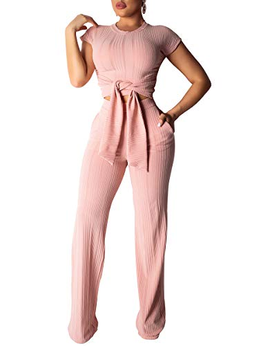- Lynwitkui Womens Two Piece Outfits Sexy Club Bodycon Crop Top Wide Leg Short Sleeve Jumpsuits with Belted Pink