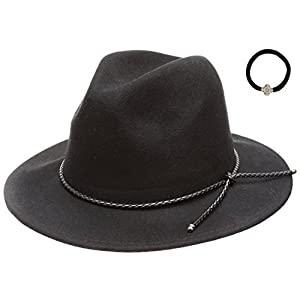 D&Y Women's 100% Wool Felt Cloche Short Brim Floppy Fedora Hat with Scrunchy