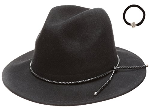 D&Y Women's 100% Wool Felt Cloche Short Brim Floppy Fedora Hat with Scrunchy (Braid PU Band Tie-Black)]()