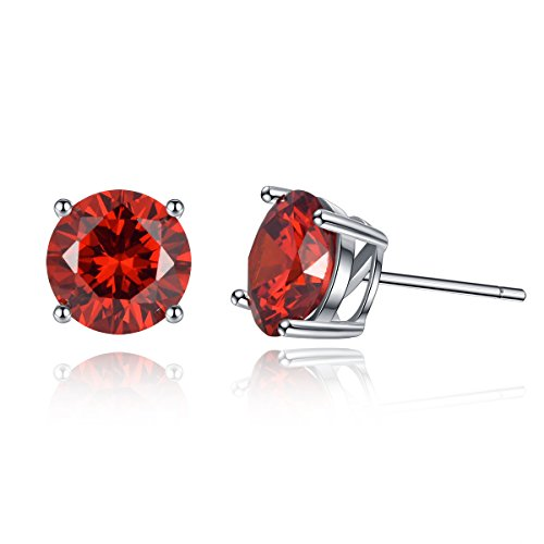 Stud Earrings Sterling Silver, Sterling Silver Cubic Zirconia Stud Earrings January Simulated Garnet Birthstone Solitaire CZ Earrings