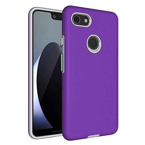 Price comparison product image Google Pixel 3 XL Case, Pixel 3 XL [Non-slip] [Drop Protection] [Shock Proof] [Dual Lawyer] Hybrid Defender Armor Full Body Protective Rugged Holster Case Cover for Google Pixel 3 XL 2018 Purple