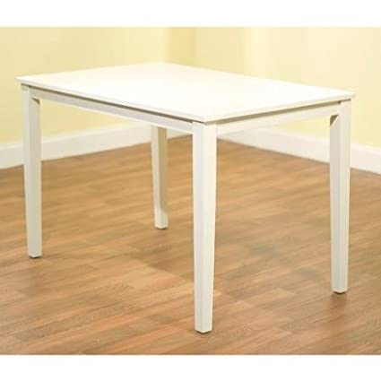 Contemporary Rectangular Dining Table, In White Finish Made From MDF And  Rubber Wood