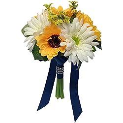 "7.5"" Bouquet - Sunflower Gerbera Daisies Bouquet Artificial with Navy Blue Ribbon"