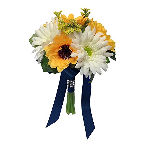 "7.5"" Bouquet - Sunflower Gerbera Daisies Bouquet Artificial with Navy Blue Ribbon"