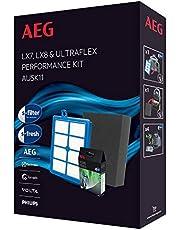 AEG AUSK11 Performance Kit voor LX7, LX8 (1 Allergy Plus-filter, 1 fijnstoffilter EF129, wasbaar, set van 4 s-fresh geurgranulaat, verbeterd zuigvermogen, perfecte pasvorm, blauw/grijs)