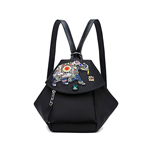 Shoulder Small Elephant Black Black Coolives Backpack Cute Bags Bags Bags For Embroidered Multifunctional Women 17Pwax