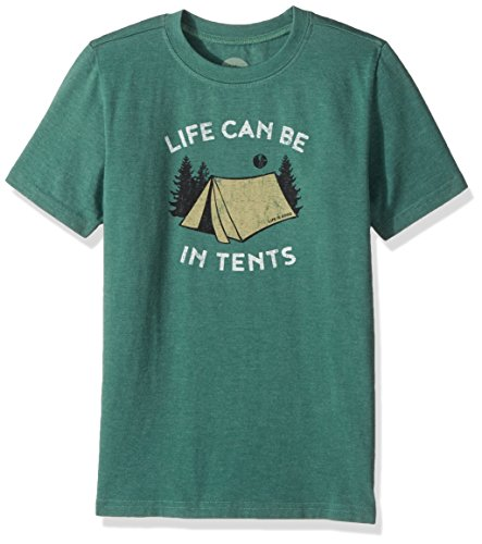 Life is good Boys Tee In Tents Life, Heather Forest Green, Small