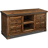 Crafters and Weavers Rustic Distressed Reclaimed Solid Wood Credenza Tv Stand