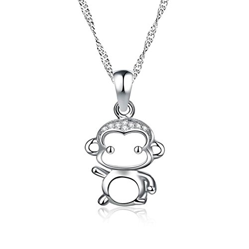 LuckyJewelry Cute Monkey Charm Pendant Sterling Silver Chain Necklace For Mom Girl 18 (Sterling Silver Monkey)