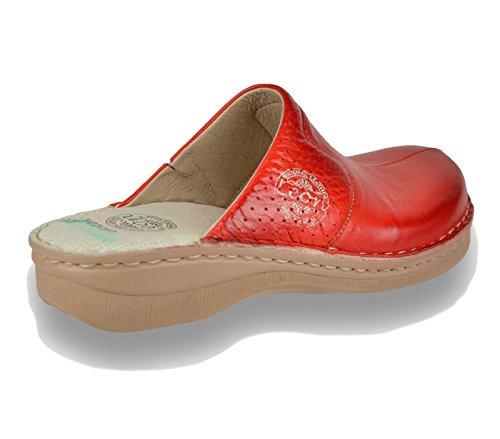 Leon 360 Comfortabele Schoenen Leren Schoenen Muilezel Klomp Dames Rood