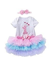 Marlegard Baby Girls' 1st Crown Birthday Outfit Flower Headband Tutu Skirt