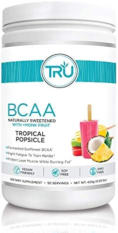 TRU BCAA, Plant Based Branched Chain Amino Acids, Vegan Friendly, Zero Calories, No artificials sweeteners or Dyes, Improve Fat Loss, 50 Servings (Tropical Popsicle) 1