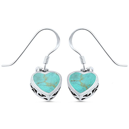 Green Turquoise Heart .925 Sterling Silver Earring