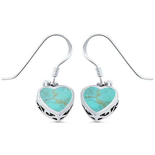 Green Turquoise Heart (Green Turquoise Heart .925 Sterling Silver Earring)