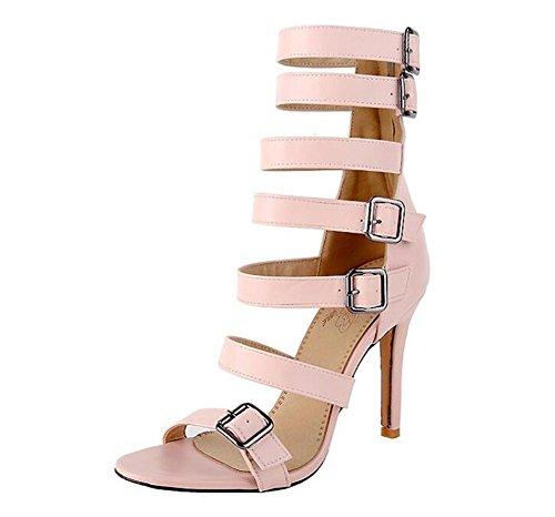 Beaqueen Bottes de cheville Pompes Gladiateur à bout ouvert Stiletto Talon moyen Fête de mariage d'été Vintage Sandales personnalisés Europe Taille 32-46 , pink