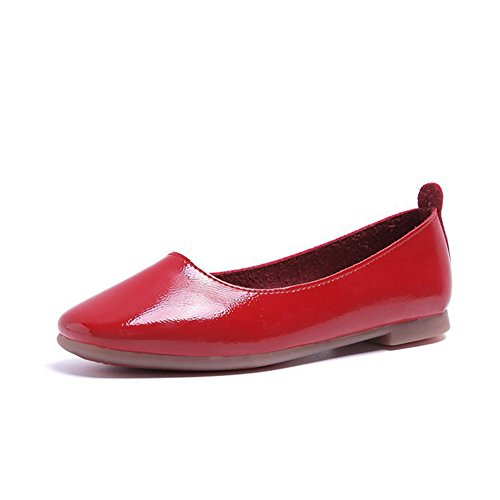 On Head Amp; Bottom Shoes Walking Women's Round Red Soft Flats zOfUf6