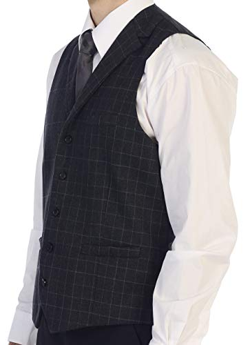 - Gioberti Men's 5 Button Tailored Collar Formal Tweed Suit Vest, Charcoal Gridwork, Large