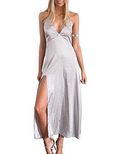Simplee Apparel Women's Deep V Neck Sleeveless Satin Party Slip Dress, 12, Silver