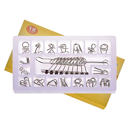 Feeko Brain Teasers for Adults, 16Pcs Wire Jigsaw Iq Test Untie Iron Link Unlock Interlocking Game Toy Set Suitable for Party Youth Children Adult Challenge Educational Toy Gift