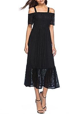 Lyrur Women's Floral Lace Elasticized Shoulder Straps Retro Black Evening Party Maxi Dress