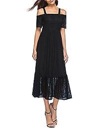 Women's Floral Lace Elasticized Shoulder Straps Retro Black Evening Party Maxi Dress