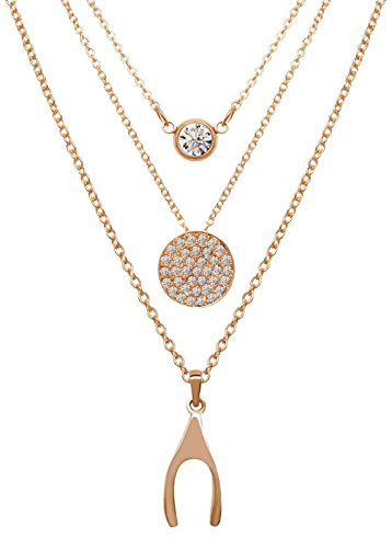 Sparkling Wishbone Necklace (JewelSugar Wishbone Sparkling Disc Trio Necklace (3 Necklaces in 1) in 14k Gold)