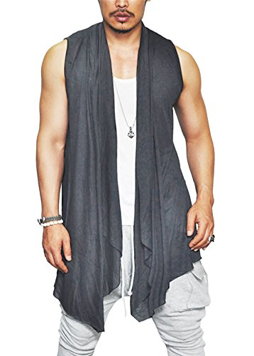 Coofandy Mens Ruffle Shawl Collar Sleeveless Long Cardigan Vest, Grey, Small