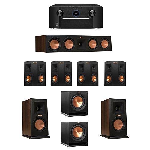Klipsch-72-Walnut-System-with-2-RP-150M-Monitor-Speakers-1-RP-450C-Center-Speaker-4-Klipsch-RP-240S-Ebony-Surround-Speakers-2-Klipsch-R-110SW-Subwoofer-1-Marantz-SR7011-AV-Receiver