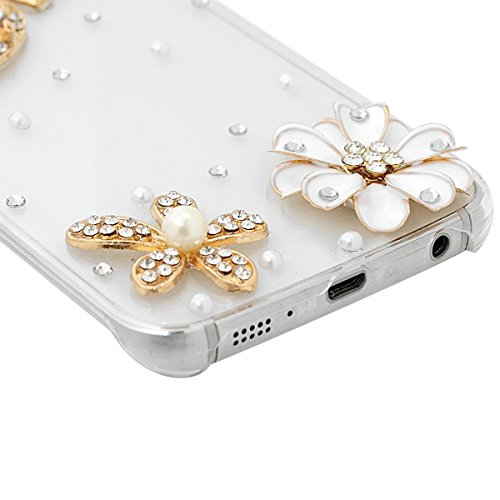 SmartLegend Coque Samsung S6 Edge , Bling Etui Coque Plastic Clair Briller Rhinestone Diamond Sparkle Fleur Crown Hard Case Couverture Dur Rigide Strass Housse Luxe Extrêmement Mince Légère Cover pour