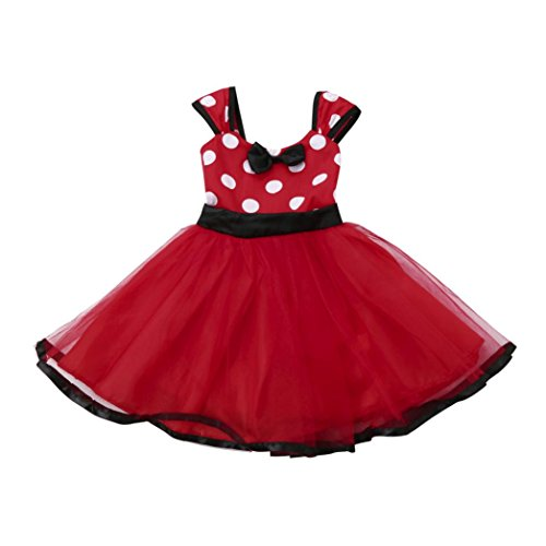 Princess Tutu Anime Costume (Lanhui Sunny Kids Baby Girls Tutu Princess Dot Christmas Outfits Clothes Dress (Red, 18-24Months))