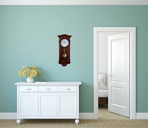 Pendulum Wall Clock Battery Operated – Silent Quartz Wood Pendulum Clock – Dark Wooden Decorative Wall Clock Pendulum, for Living Room, Kitchen Home D cor, 12.5 x 9.75 Inches